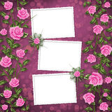 Paper for congratulation with painting rose Royalty Free Stock Image