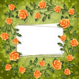 Paper for congratulation with painting rose Stock Images