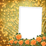 Paper for congratulation with painting rose Royalty Free Stock Photography