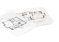 Paper from construction projects. On white background Stock Photo
