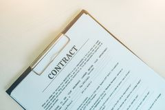 Paper of Contract, Business and Office Concept. stock photos