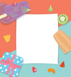 Paper Copyspace With Fruit Popsicles Icecream.  Stock Images