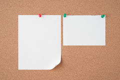 Paper on cork board  for text and background Stock Images
