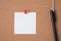 Paper on cork board  for text and background Stock Image