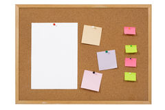 Paper on cork notice board. Royalty Free Stock Photos