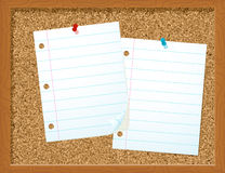 Paper on corkboard. This is an illustration of a couple of pieces of lined paper tacked onto a corkboard Stock Image