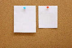 Paper with corkboard. Paper nailed to a corkboard Royalty Free Stock Photography