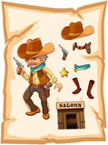 A paper with a cowboy holding a gun Royalty Free Stock Image