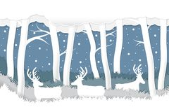 Paper craft cut deer in snow winter forest background . Vector design for Christmas and new year day Stock Photography