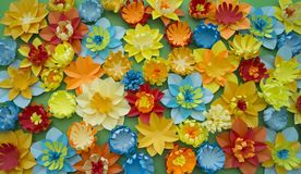 Paper craft Flower Decoration Concept Border Green background Stock Photos