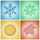Paper craft , Four seasons elements Royalty Free Stock Image
