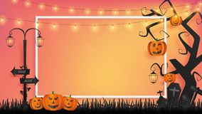 Paper craft of Halloween background represents sunset vector illustration