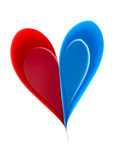 Paper craft heart, red and blue on white Stock Images