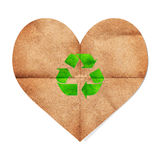 Paper craft heart shape with green recycle sign Royalty Free Stock Photography