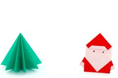 Paper Craft Santa Claus And Christmas Tree Royalty Free Stock Images