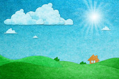 paper craft sunny day view Royalty Free Stock Images