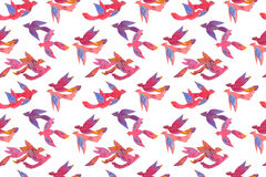 Paper craft watercolor colorful tropical birds, seamless pattern Stock Image