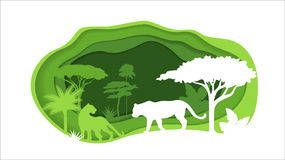 Paper Crafted Cutout World. Concept of tropical rainforest Jungle. Vector illustration.  Royalty Free Stock Image