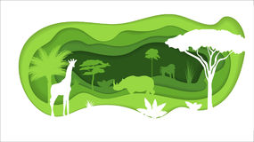 Paper Crafted Cutout World. Concept of tropical rainforest Jungle. Vector illustration Royalty Free Stock Photography