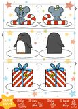 Paper Crafts for children. Mouse, Penguin and Christmas gift. Education Christmas Paper Crafts for children. Mouse, Penguin and Christmas gift. Use scissors and Royalty Free Stock Photo