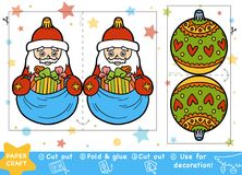 Paper Crafts for children, Santa Claus and Christmas ball. Education Christmas Paper Crafts for children, Santa Claus and Christmas ball. Use scissors and glue royalty free illustration