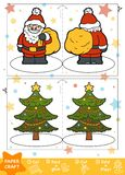 Paper Crafts for children, Santa Claus and Christmas tree. Education Christmas Paper Crafts for children, Santa Claus and Christmas tree. Use scissors and glue stock illustration
