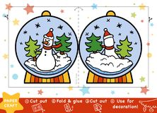 Paper Crafts for children, Snowball with a snowman. Education Christmas Paper Crafts for children, Snowball with a snowman. Use scissors and glue to create the stock illustration