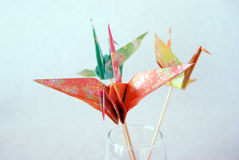 Paper crane. Or origami folded and shaped in crane Stock Photography