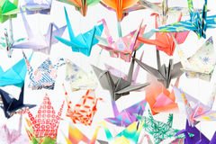 Paper cranes. Photo of multicolour paper cranes hanging together using fishing lines Royalty Free Stock Photography
