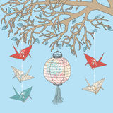 Paper Cranes and Paper Lantern Stock Image