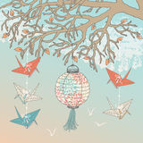 Paper Cranes and Paper Lantern Royalty Free Stock Images