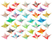 Paper cranes pattern. 32 different paper birds isolated on a white background Stock Image
