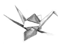 Paper cranes sketch. On paper Stock Images