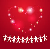 Paper crowd with heart on background. Paper crowd with heart on red background Stock Image