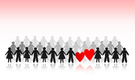 Paper crowd with hearts. Paper crowd men and women with hearts Stock Photography