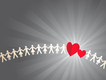 Paper crowd with hearts Royalty Free Stock Photography