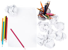 Paper with crumpled paper balls Royalty Free Stock Photos