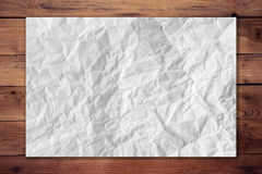 Paper crumpled on wood horizontal background Royalty Free Stock Photography