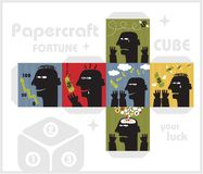 Paper cube with monsters for luck. Royalty Free Stock Image