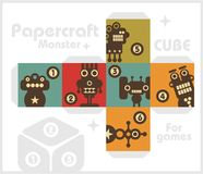 Paper cube with monsters for table games. Stock Image