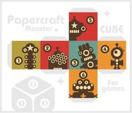 Paper cube with monsters for table games. Stock Photography