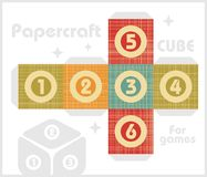 Paper cube for table games in retro style. Royalty Free Stock Photos