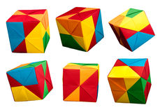 Paper Cubes Folded Origami Style. Royalty Free Stock Image