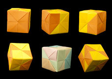 Paper Cubes Folded Origami Style. Royalty Free Stock Photo