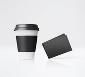 Paper cup and business cards. 3d rendering Stock Images