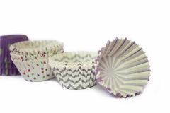 Paper cup cake isolated royalty free stock image