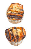 Paper cup chocolate bun strew with roasted almond Stock Images