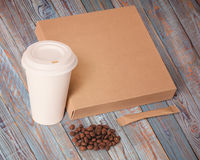 Paper cup,coffee beans,sugar and box. Stock Photo