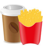 Paper cup with coffee and fries potato Royalty Free Stock Image