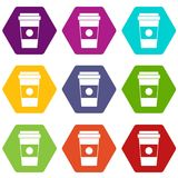 Paper cup of coffee icon set color hexahedron Stock Images